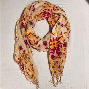 Gap scarf red & yellow floral print